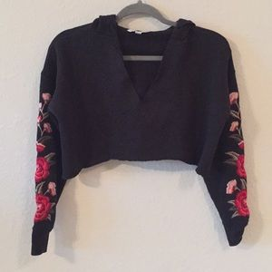 American Eagle Embroidered Sleeve Cropped Hoodie